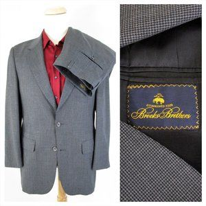 Brooks Brothers Gray Wool Houndstooth Suit 40R